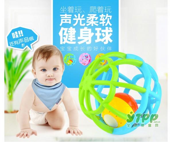谷雨宝宝软胶音乐灯健身球玩具    音乐灯光一球多用  乐享多彩生活