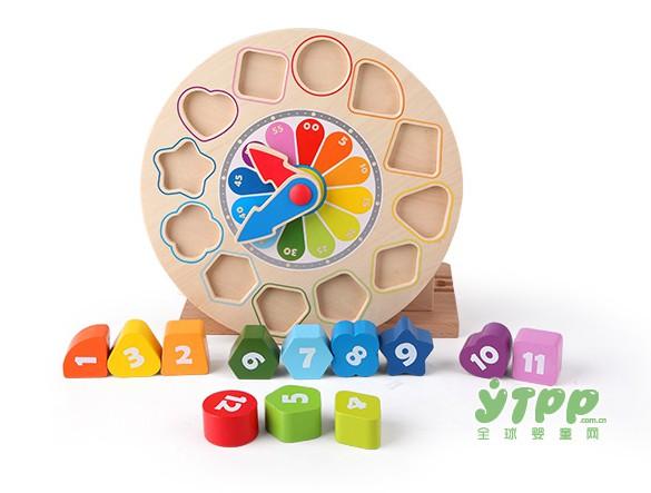 hape积木时钟模型拼板积木  时间管理的育儿神器