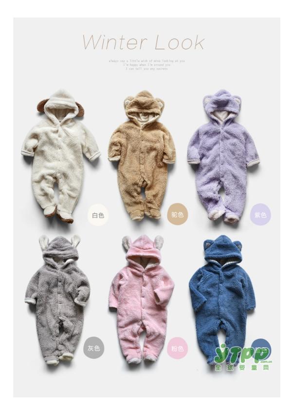 童装新时尚 papa冬款纯棉卡通小熊爬服