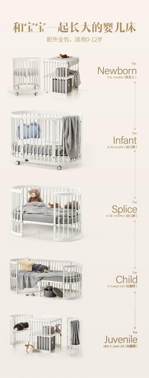 購買嬰兒床有哪些標準  蒂愛歐式嬰兒多功能實木拼接床仿生學圓床可通過90%房門