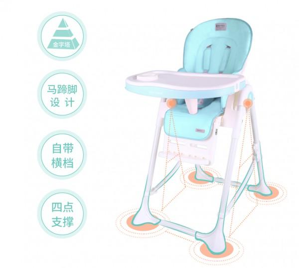 babypalace宝宝多功能便携式吃饭餐椅   四轮可推行·自带横档马蹄脚不易侧翻