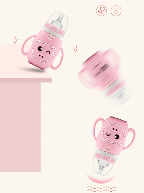 爱乐宝新生婴儿晶钻玻璃吸管奶瓶   呆萌造型宝宝更欢喜