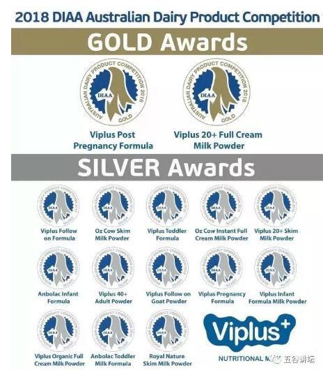 2019澳大利亞乳制品工業協會(DIAA)頒獎典禮  維愛佳ViPlus乳業獲得5項殊榮