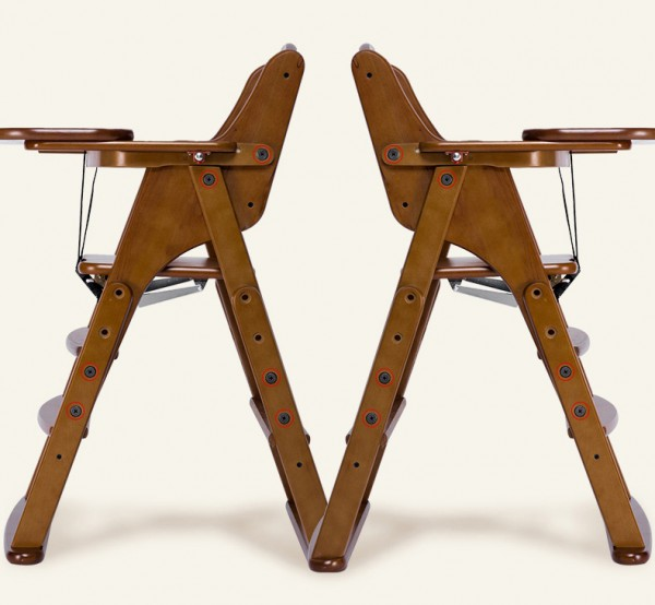 贝易宝宝多功能可折叠实木餐椅 进口桦木·免拆卸餐盘滑动可调