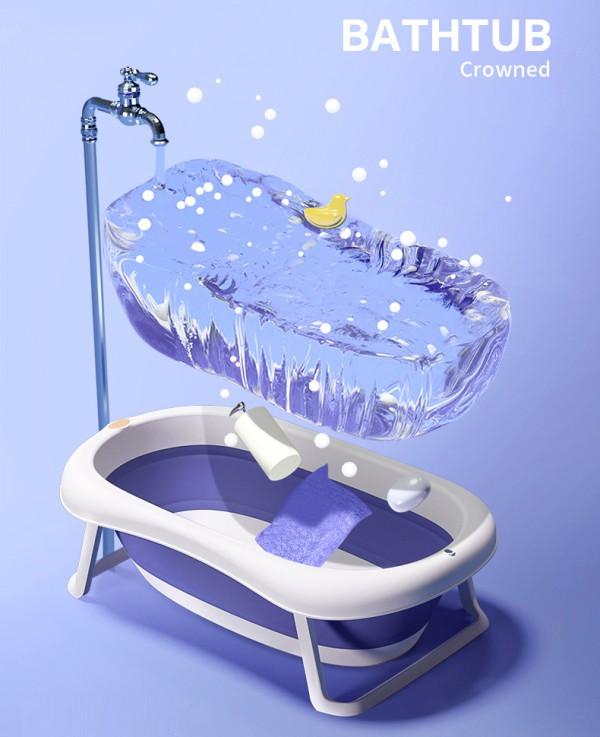 蒂爱婴儿折叠浴盆洗澡盆   一套齐全·环绕锁温·环绕锁温