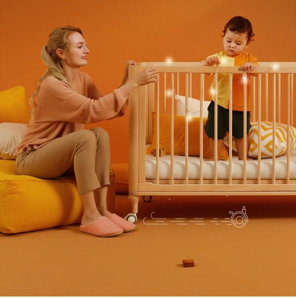 巴布豆实木可移动婴儿床   N+1种使用场景组装不闲置