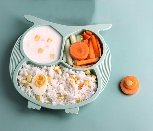 优柏尼宝宝分格硅胶餐盘   分别盛放不同食物防串味·宝宝营养更均衡