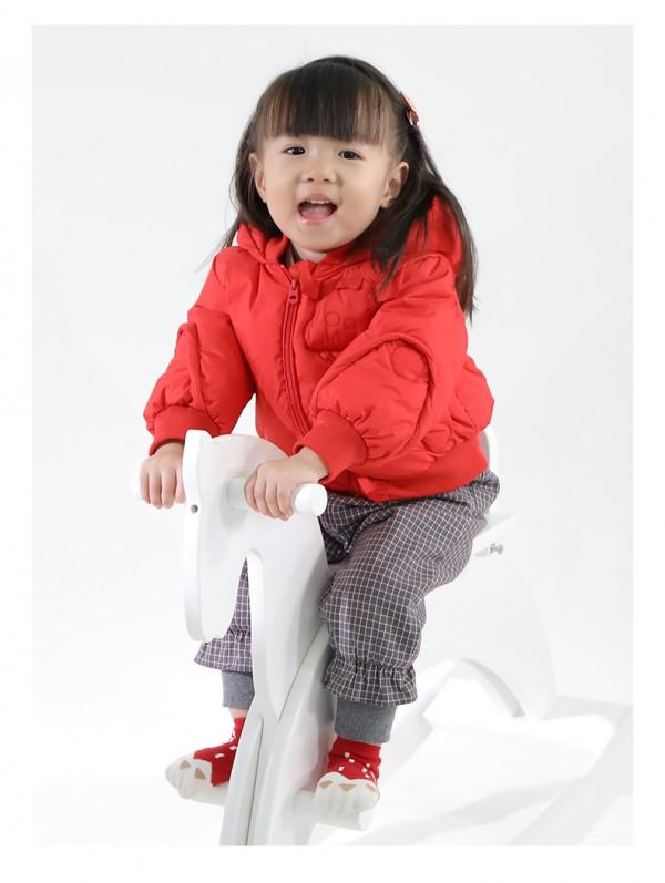 巴黎小猪儿童羽绒服红色过年新衣   儿童冬装婴儿羽绒服