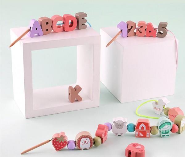 木丸子串珠子穿線益智力動腦積木玩具  適合1-2歲寶寶的玩具