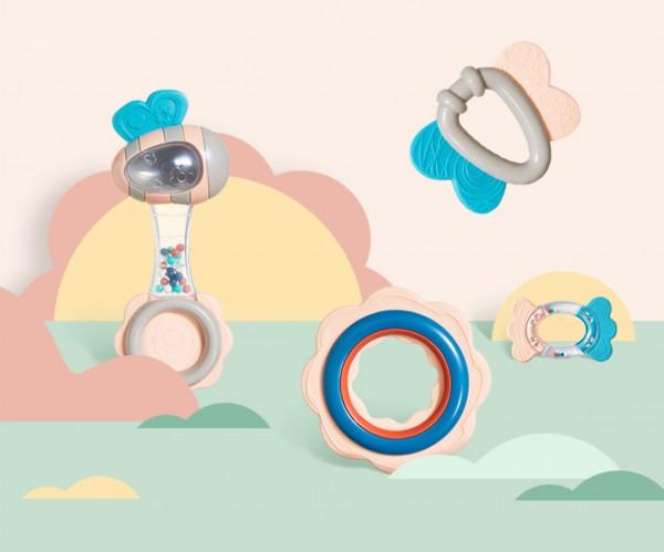 KUB可优比婴儿手摇铃玩具    多种形态的啃咬点设计·缓解宝宝出牙不适