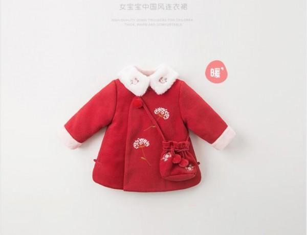 davebella戴维贝拉女童中国风连衣裙 喜庆中国红 欢喜拜年去