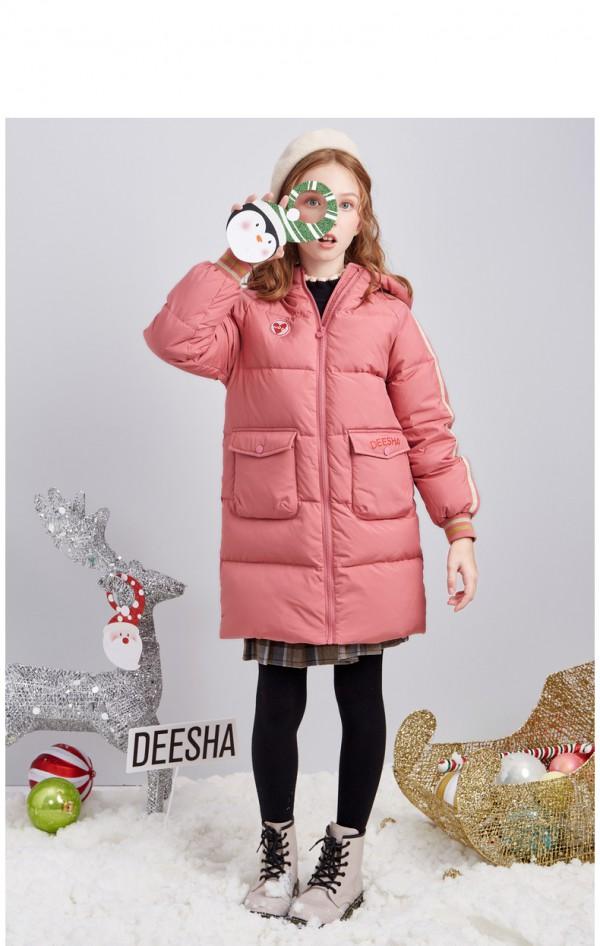 笛莎童装女童羽绒服中长款  加厚羽绒外套新年不在怕冷