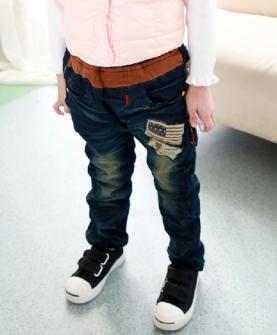 儿童韩版牛仔加绒加厚长裤