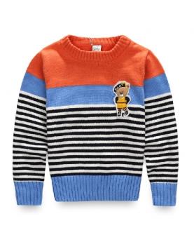 男童条纹休闲毛衣