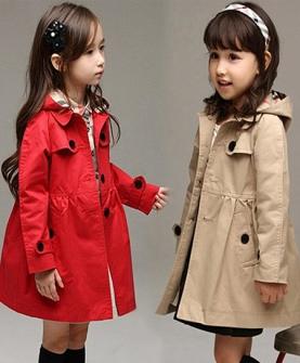 女童风衣儿童双排扣韩版中长款外套