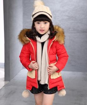 连帽加厚中长款儿童棉衣