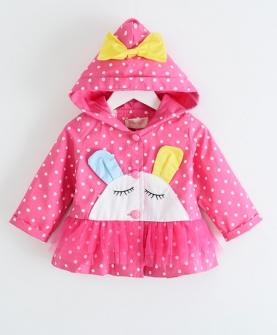 中小女童纯棉卡通风衣外套