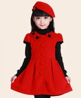 时尚儿童公主童裙短袖毛呢裙子