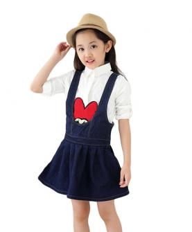 韩版牛仔背心裙卡通衬衫两件套