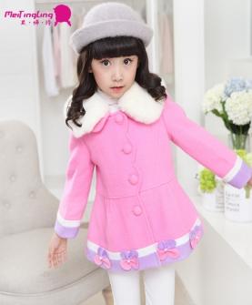 新款女童羊毛尼子大衣