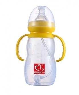 宽口硅胶带手柄自动吸奶瓶