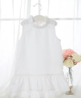 女童圆领不规则连衣裙