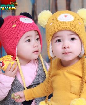毛线加绒护耳可爱宝宝套头帽