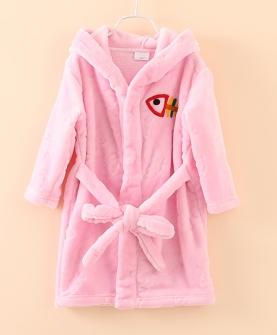 珊瑚绒长袖男女童浴袍