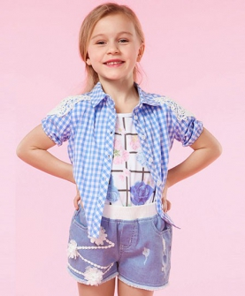 女童短袖衬衫