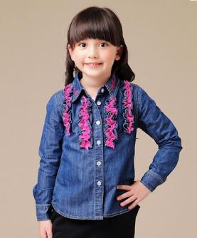 女童长袖衬衫