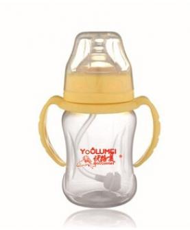 品牌 时尚正品婴儿奶瓶 带柄自吸宽口PP奶瓶