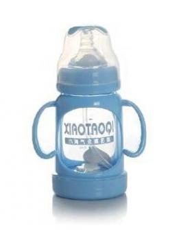 防胀气防烫宽口玻璃奶瓶 带吸管配实感奶嘴