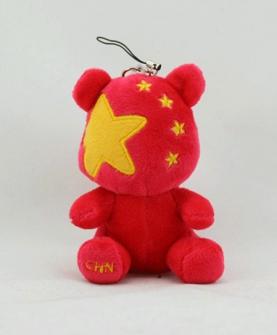 国旗熊钥匙扣毛绒玩具