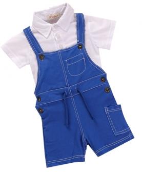 纯棉两件套男宝背带套装