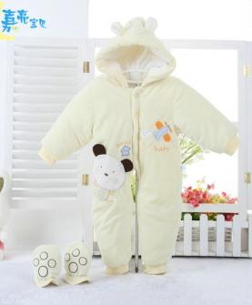幼儿冬款加厚水晶绒连体棉衣