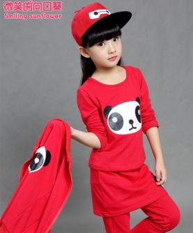 女童熊猫三件套