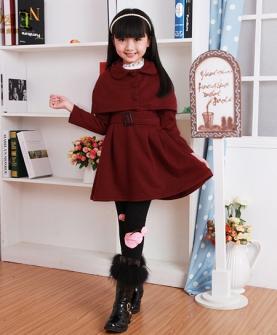 冬季毛妮斗蓬女童连衣裙