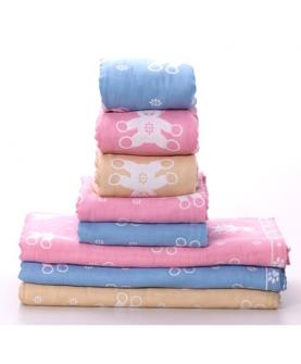 全棉贝纳熊纱布童毯