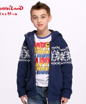 男童夹棉外套儿童针织衫开衫