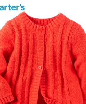 红色长袖开衫