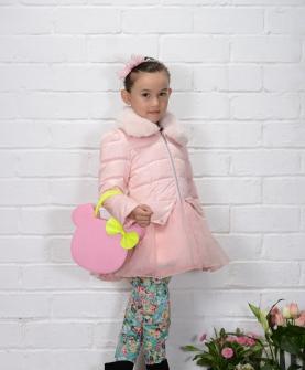 AW301女小童公主毛领蓬蓬纱款100-130 粉色