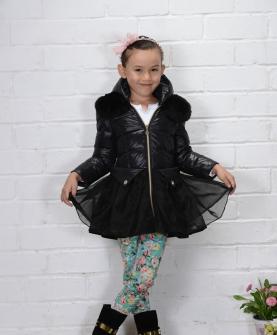 AW301女小童公主毛领蓬蓬纱款100-130 黑色