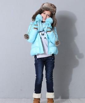 冬款女童蓝色羽绒服