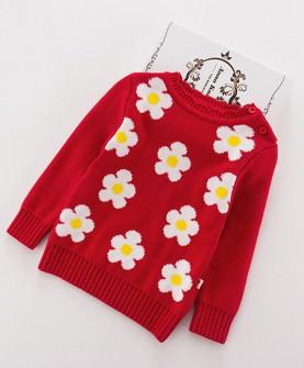 秋冬款加厚童女针织衫