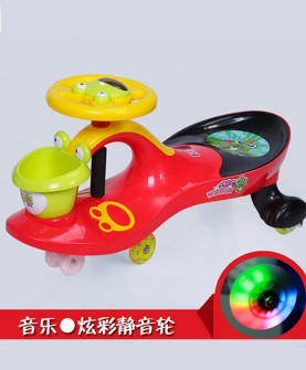 儿童扭扭车红色静音发光轮