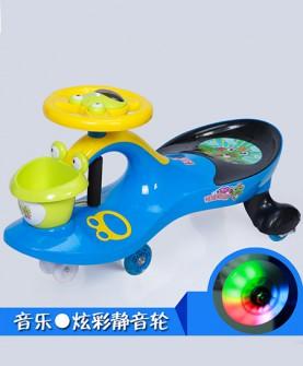 儿童扭扭车蓝色静音发光轮