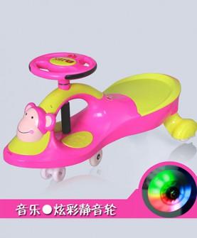儿童扭扭车粉色带音乐静音轮