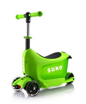 儿童绿色旅行箱滑板车