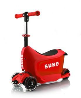 儿童法拉利红旅行箱滑板车
