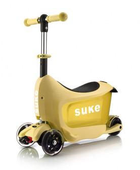 儿童黄色旅行箱滑板车